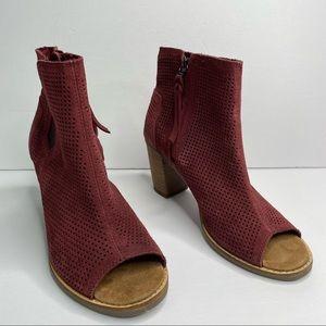 Toms maroon suede peep toe ankle booties 6